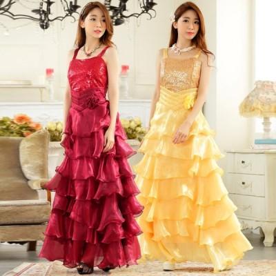 パーティードレス 大きいサイズ ぽっちゃり 送料無料 結婚式 ワンピース フリルロングドレス キャミドレス フォーマル F/2L/3L/4L 9725