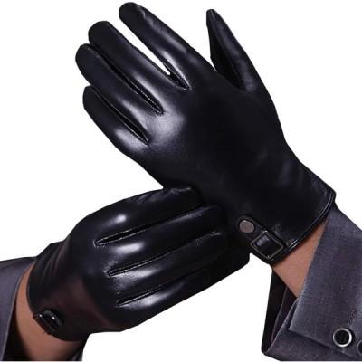 WHITE FANG(ホワイトファング) 手袋 グローブ 秋冬 防寒 おしゃれ レザー スマホ 液晶対応 裏起毛 メンズ NT077 (ブラ