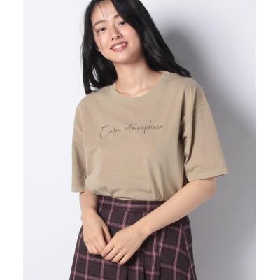 【コムサイズム】 メッセージプリント Tシャツ レディース ベージュ F COMME CA ISM