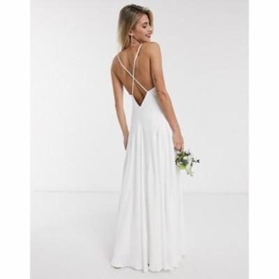 エイソス ASOS EDITION レディース ワンピース ウェディングドレス ワンピース・ドレス Paige Satin Plunge Wedding Dress With Cross Ba