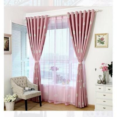 ホーム インテリア 雲パターン ウィンドウカーテン 薄手 窓パネル 雰囲気 ロマンチック ピンク 100 * 250cm