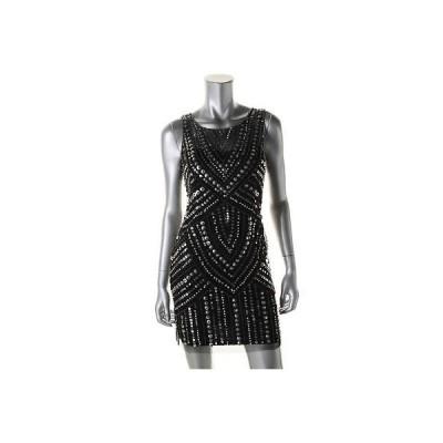 アクア ドレス ワンピース アクア 2583 レディース ブラック mesh Embellished Party Cocktail ドレス 6 BHFO