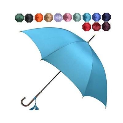 [ワカオ] スリム 雨傘 長傘 軽量 スタイリッシュ 天然木 日本製 ターコイズ(102)