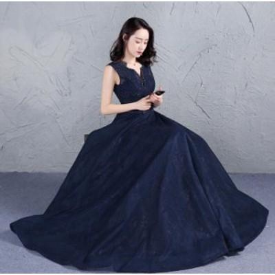 豪華 立ち襟 フォーマルドレス お呼ばれドレス ロングドレス フェミニン パーティードレス イブニングドレス 優雅 花嫁 結婚式 編み上げ