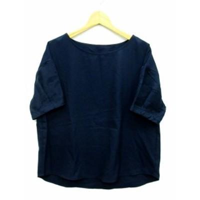 【中古】ショコラフィネローブ chocol raffine robe 花 ジャガード袖 ブラウス カットソー 半袖 ネイビー 紺 F 6A96L0A0900 レディース