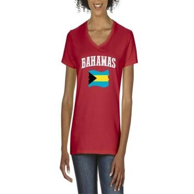 レディース 衣類 トップス Womens Bahamas Flag V-Neck T-Shirt Tシャツ