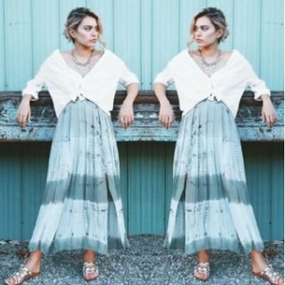 ファッション スカート NWT ZARA WOMAN LONG TIE-DYE FLOWING SKIRT w/ SLITS ELASTIC waist 7521/073_M L