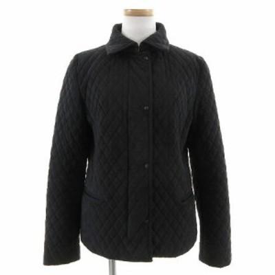 【中古】アンタイトル UNTITLED ジャケット キルティングジャケット 長袖 合成皮革 スエード調 中綿入り ブラック 黒 2 レディース