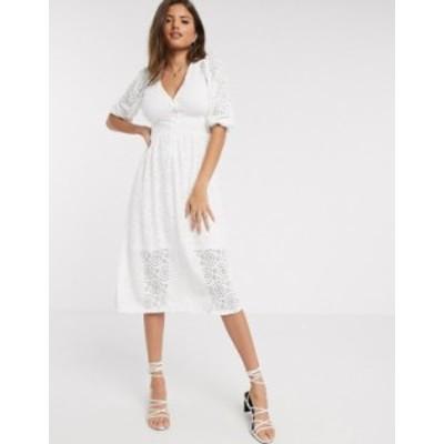 リバーアイランド レディース ワンピース トップス River Island v-neck broderie midi smock dress in white White