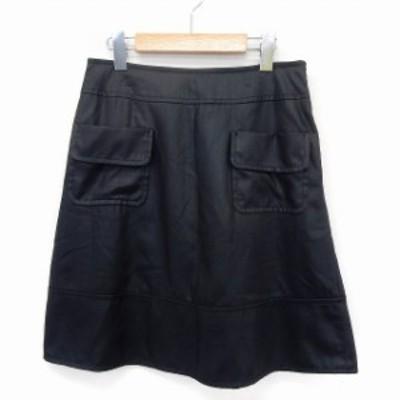 【中古】レイビームス Ray Beams スカート 台形 膝丈 フェイクポケット シンプル サイドジップ 1 ブラック /ST9