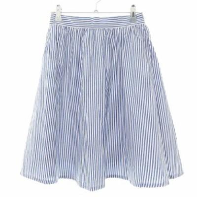 【中古】未使用品 ビス ViS スカート フレア ミニ ギャザー 薄手 コットン ストライプ M 青 白 ボトムス レディース