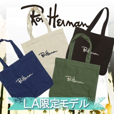 Ron Herman ロンハーマン トートバック // 4色[ブラック/ホワイト/ネイビー/グリーン] ロゴ入り 刺繍 国内発送