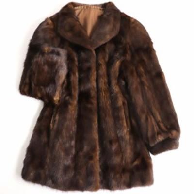 毛並み極美品▼MINK ミンク 本毛皮コート ブラウン 大きめサイズ15号 毛質艶やか・柔らか◎