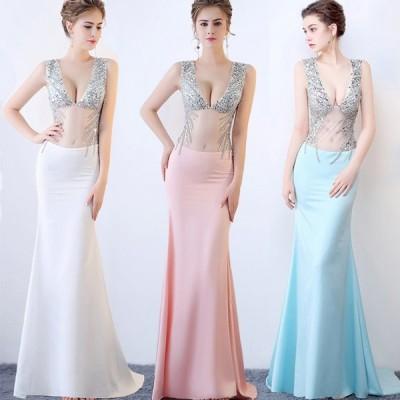 ロングドレス ウェディングドレス イブニングドレス 演奏会 カラードレス 大きいサイズ ドレス ロング 結婚式 お呼ばれ 大きい ピアノ ステージドレス[水色]