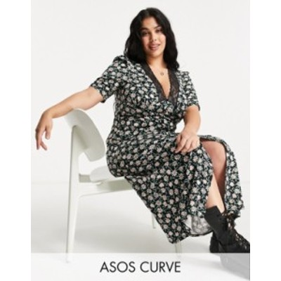エイソス レディース ワンピース トップス ASOS DESIGN Curve lace trim maxi with short sleeve in black based floral print Black flo