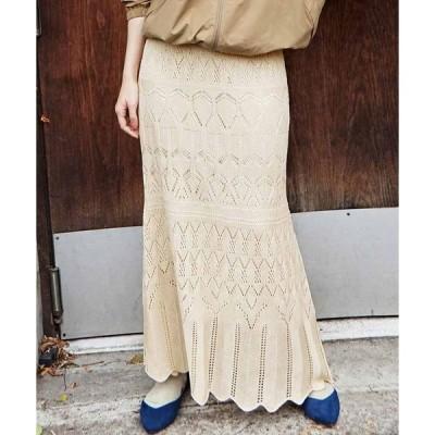 スカート MEDE19F 透かし編みニットスカート