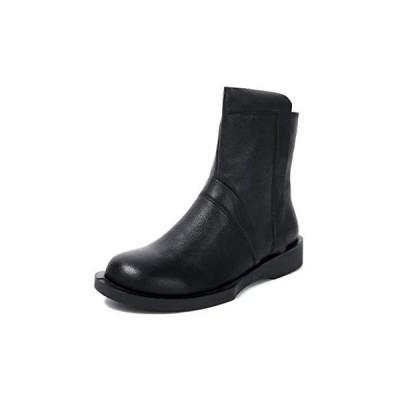 [ZUYEE] (ズイェ) レディース ショートブーツ 本革 柔らかい フラット ファスナー付き カジュアル 黒 (ブラック 23.0 cm)