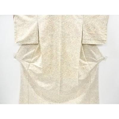 未使用品 仕立て上がり 抽象模様織り出し手織り紬着物