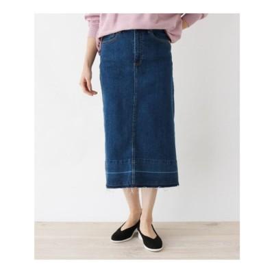 シューラルー SHOO-LA-RUE 【M-L】サスティナブルデニムロングスカート (ネイビー)