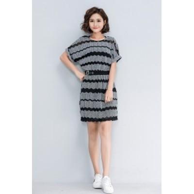 【 L ~ 3XL 】 大きいサイズ レディース ストライプ 半袖 ニット ドレス ワンピース スカート 春 夏 3L 2L 3XL 2L T