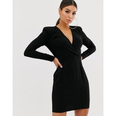 エイソス レディース ワンピース トップス ASOS DESIGN shoulder pad plunge wrap mini dress Black