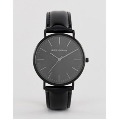 エイソス メンズ 腕時計 アクセサリー ASOS DESIGN watch in black with patent strap Black