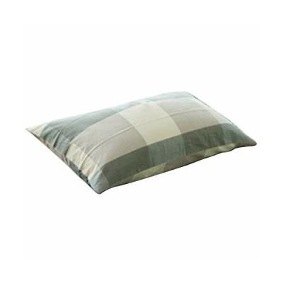 枕カバー 75×50cm(70x50cmも可)無地 チェック柄 ピローケース 8色 (グリーン)