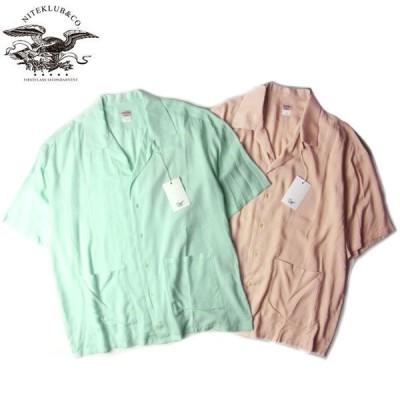 NITE KLUB ナイトクラブ N Open Collared Shirt オープンカラー シャツ 半袖 メンズ レディース ミント ピンク 2カラー NK20-S002 送料無料