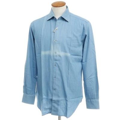 アウトレット オリアン ORIAN インディゴ染 コットン セミワイドカラー シャツ ブルー 40