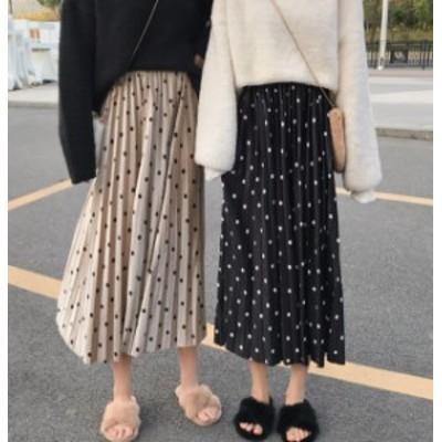 オルチャン 韓国 ファッション ドット柄 プリーツスカート ロングスカート ウエストゴム ハイウエスト レトロ ゆったり 大人可愛い