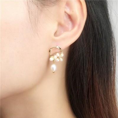 ピアスレディースアクセサリーパール揺れる真珠女性軽い可愛いデザインモチーフゴールドs925
