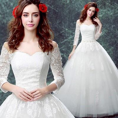 ウエディングドレス 長袖 安い 花嫁 ドレス 白 二次会 ウェディングドレス 秋冬 プリンセス 結婚式 披露宴 エンパイア ブライダル ロングドレス 大きいサイズ