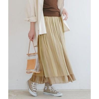 スカート サテン×チュールリバーシブルスカート