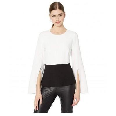 BCBGMAXAZRIA ビーシービージーマックスアズリア レディース 女性用 ファッション ブラウス Peplum Top - Optic White Combo