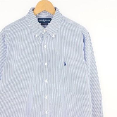 古着 大きいサイズ ラルフローレン 長袖ボタンダウンシャツ 旧タグ メンズ US-Lサイズ ストライプ柄 ライトブルー系 hs-8698