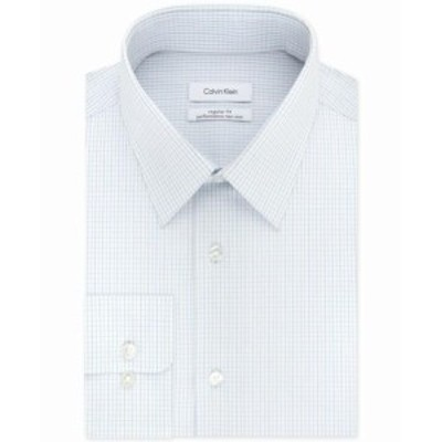 Calvin Klein カルバンクライン ファッション ドレス Calvin Klein NEW Blue White Mens Size 18 Check Print Dress Shirt