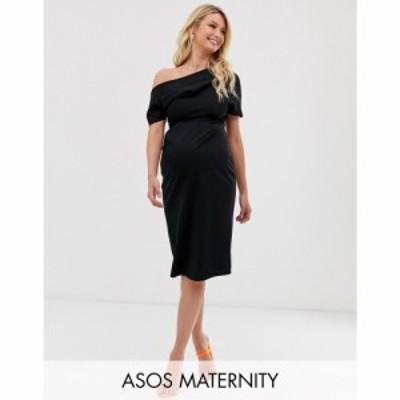エイソス ASOS Maternity レディース ワンピース マタニティウェア ペンシル ASOS DESIGN Maternity pleated shoulder pencil dress ブラ