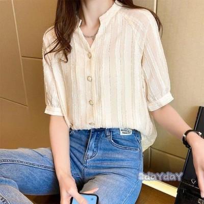 大人 50代 ゆったり きれいめ 40代 白シャツ レディース 30代 韓国風 Vネックブラウス オシャレ 半袖 上品 春秋 ブラウス