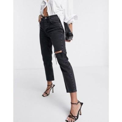 トップショップ Topshop レディース ジーンズ・デニム ボトムス・パンツ Editor jeans with thigh rip in washed black ウォッシュブラック