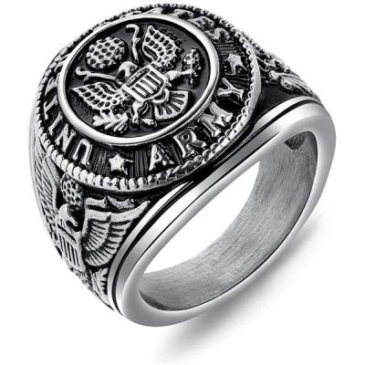 Rockyu ブランド 人気 指輪 メンズ シルバー チタン 刻印 記章 タカ 印台リング 24号 カッコいい 彫刻風 ニューヨークスタイル 記念日