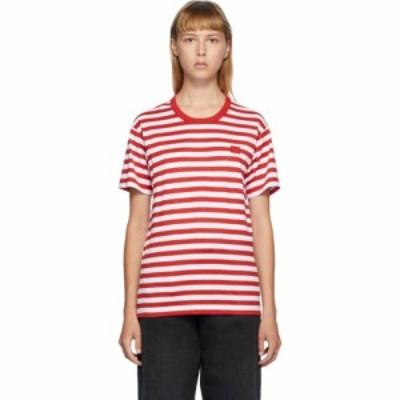 アクネ ストゥディオズ Acne Studios レディース Tシャツ トップス Red and White Classic Fit Striped T-Shirt Cherry/White