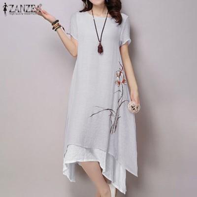 アシンメトリー 刺繍 サンドレス ビンテージ フローラル