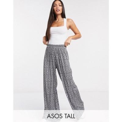 エイソス ASOS Tall レディース ボトムス・パンツ ワイドパンツ ASOS DESIGN Tall plisse wide leg trouser in animal print マルチカラー