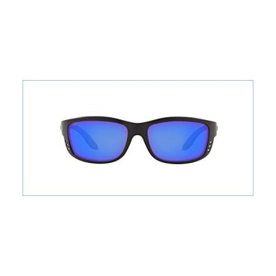 Costa Del Mar Men's Zane Polarized Rectangular Sunglasses, Matte Black/Grey Blue Mirrored Polarized-580P, 61 mm並行輸入品