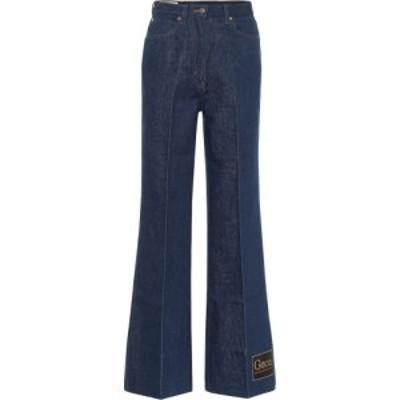 グッチ Gucci レディース ジーンズ・デニム ボトムス・パンツ high-rise cotton-denim flared jeans Dark Blue/Mix