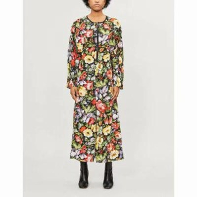 トップショップ ワンピース floral-print zip-through crepe midi dress Multi