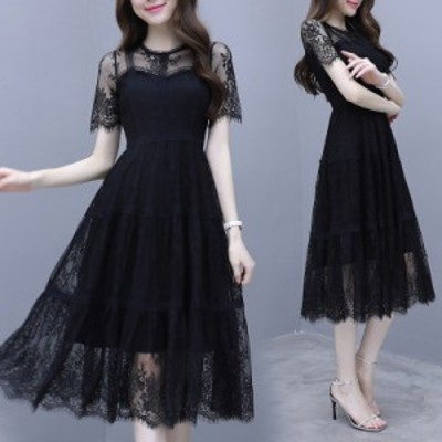 ドレス ワンピース ワンピースドレス 袖あり 半袖 黒 ブラック パーティードレス 結婚式 二次会 ワンピース パーティー ワンピースドレス