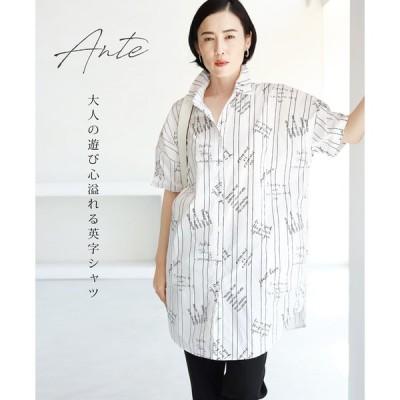 シャツ Tシャツ  大きいサイズ  40代 50代 夏 柄 M~3L対応 ante  ホワイト 大人の遊び心溢れる英字シャツトップス