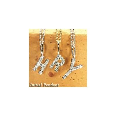 ネックレス イニシャル ペンダント 天然ダイヤモンド k18ゴールド ネックレス