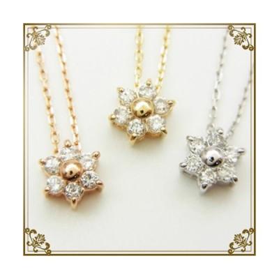 K10 YG/PG/WG ダイヤモンド ネックレス 花 フラワー レディース シンプル ゴールド 天然ダイアモンド